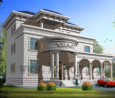 欧式别墅石材外墙设计图